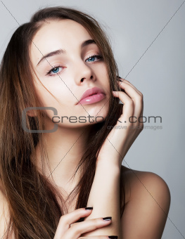 Lovely young woman closeup portrait - health concept