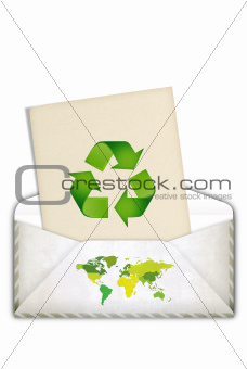 Green concept with recycling symbol