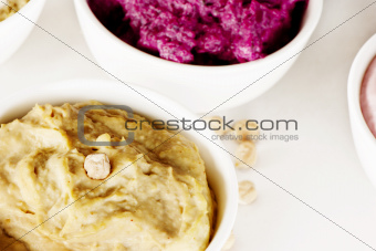 assorted dips, hummus