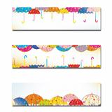 Set of Colorful Umbrella Autumn Rain Banner