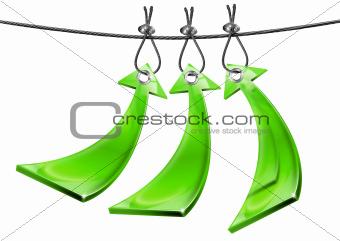 Three Green Positive Arrows