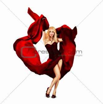 Young Woman Dancing with Red Silk
