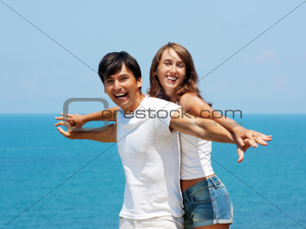 Portrait of Loving Couple by the Sea