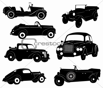 Silhouettes of antique collector cars