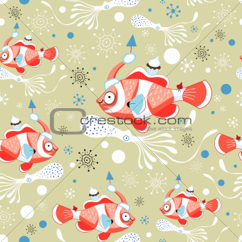 winter texture with fish