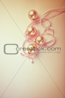 Christmas balls with satin ribbon
