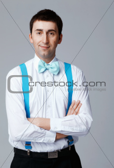Blue Bow Tie and Brases.