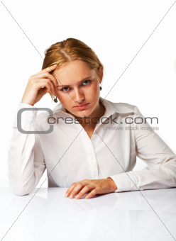 Portrait of an tired business woman isolated over white backgrou