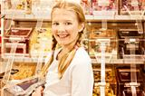 sweet shop girl, smiling