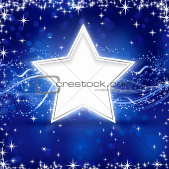 Blue silver Christmas star background