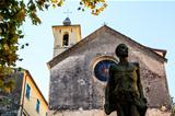 The Medieval Church and Monument in Corniglia, Cinque Terre, Ita