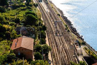 Railway Station in the Village of Corniglia, Cinque Terre, Italy