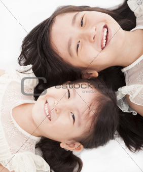 two happy asian girls