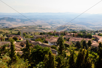 View of the Roofs and Landscape of a Small Town Volterra in Tusc
