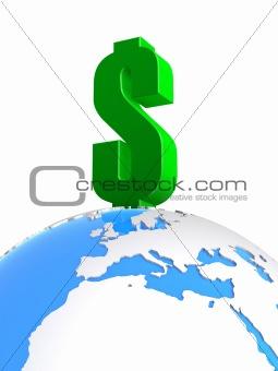 dollar on a globe