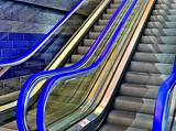 Blue escalator