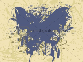 frame background with grunge butterfly