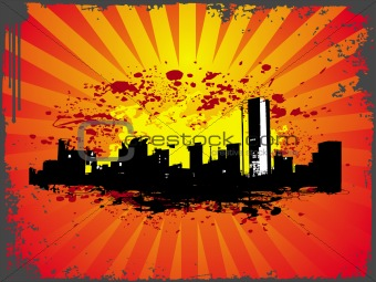 grunge urban city theme in orange color
