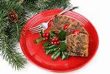Fruitcake on Red Plate