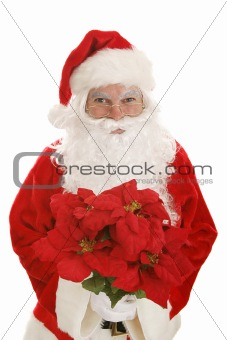Santa with Poinsettias