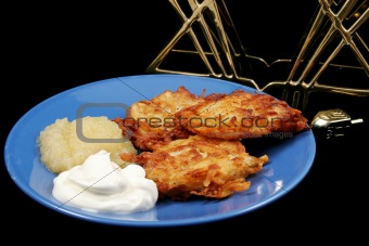 Latkes & Menorah on Black