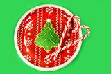 Christmas tree cookie with candy canes