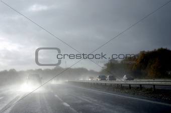 Hazardous driving in wet