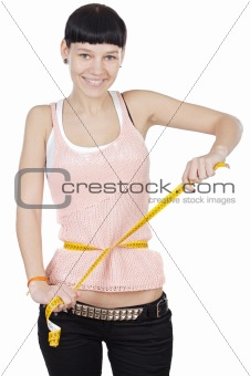 girl taking measurements