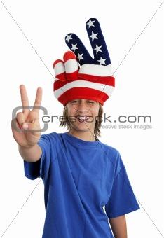 Patriotic Teen - Peace Sign