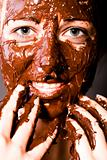 Face full of chocolate