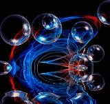 bubbles and reflection abstract colored background