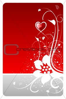 Valentine heart floral design card