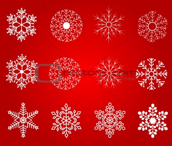 Collection of  winter snowflakes