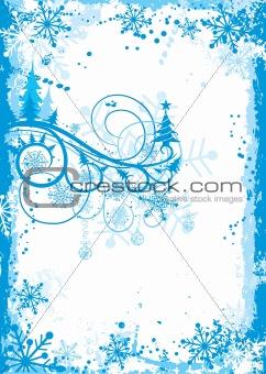 Christmas grunge floral frame, vector
