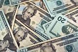 Twenty Dollar bills background texture