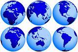 Earth globe views