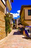 Ohrid old city alley, warm summer day