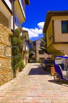 Ohrid old city alley, warm summer day