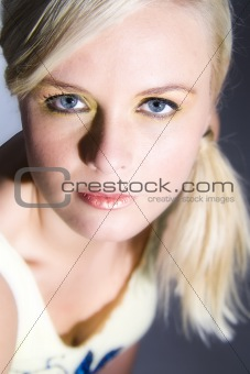 Beautiful blond eye contact