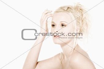 Beautifull blond checking her hair