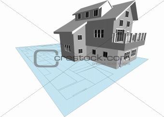 Architect's Model and Blueprint