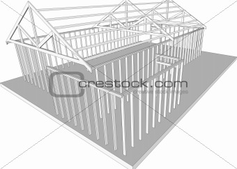 Semi-build house frame