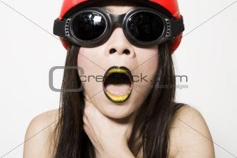 Asian girl choking