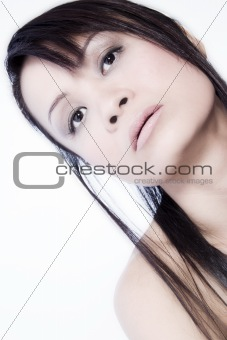 Asian Cool girl looking up