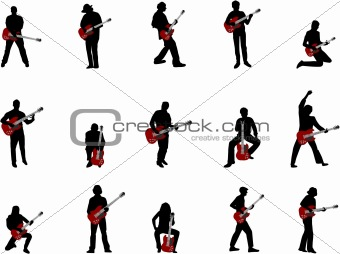 rock guitar players silhouettes
