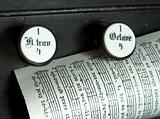 Music sheet page on the top of a church organ