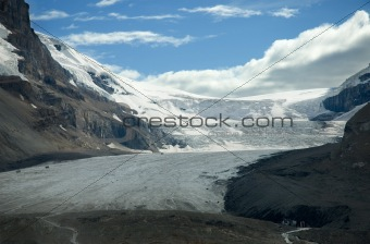 Athabasca Glacier at the Columbia Icefields in Jasper National Park Alberta