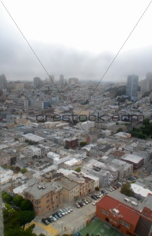 Aerial view of modern city. San Francisco, CA