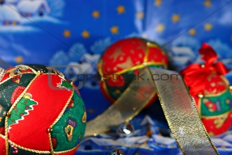 Christmas balls and ribbon