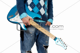 Man holding electric guitar